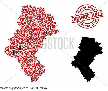 Collage Map Of Silesia Province Composed Of Sars Virus Elements And Demographics Elements. Orange Ju