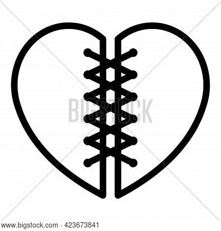 Broken Cut Heart Icon. Outline Broken Cut Heart Vector Icon For Web Design Isolated On White Backgro