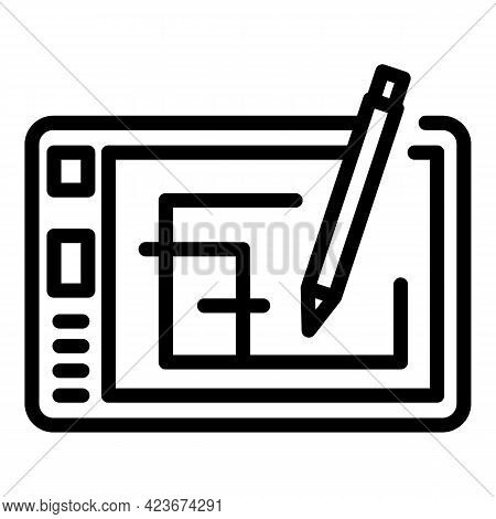 Smart Office Draw Tablet Icon. Outline Smart Office Draw Tablet Vector Icon For Web Design Isolated