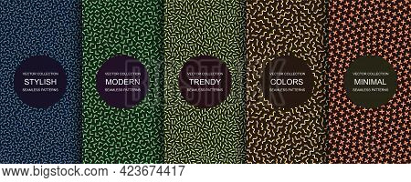 Collection Of Trendy Seamless Bright Vector Patterns - Creative Retro Design. Colorful Vibrant Backg