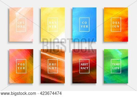 Collection Of Bright Colorful Covers, Templates, Banners, Placards, Brochures, Cards, Flyers And Etc