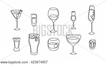 One Line Drawing Martini Rum Red Wine Liquor Champagne Tequila Beer Whiskey Vermouth Vodka Glass On