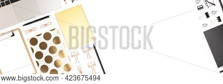 Banner With Office Supplies And Laptop On A White Background. Neat Workspace For Distance Education.