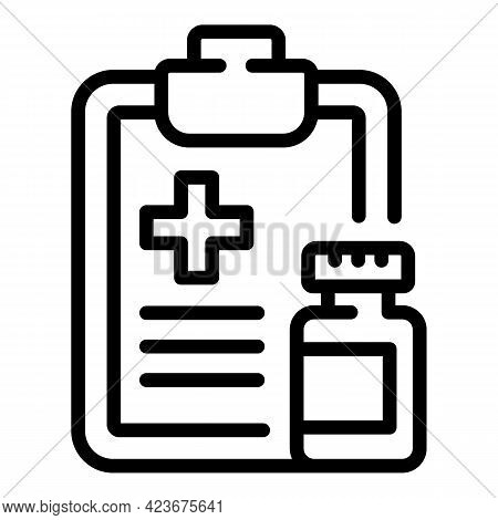 Veterinary Clinic Clipboard Icon. Outline Veterinary Clinic Clipboard Vector Icon For Web Design Iso