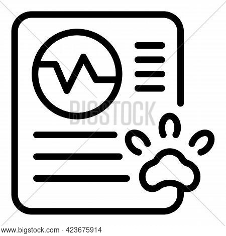Veterinary Clinic Report Icon. Outline Veterinary Clinic Report Vector Icon For Web Design Isolated