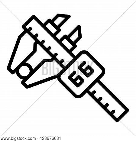Digital Micrometer Metal Icon. Outline Digital Micrometer Metal Vector Icon For Web Design Isolated