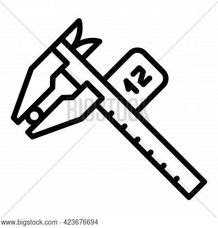 Digital Micrometer Industrial Icon. Outline Digital Micrometer Industrial Vector Icon For Web Design