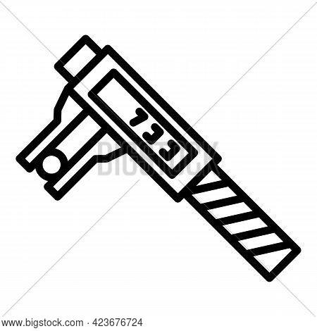 Digital Micrometer Steel Icon. Outline Digital Micrometer Steel Vector Icon For Web Design Isolated