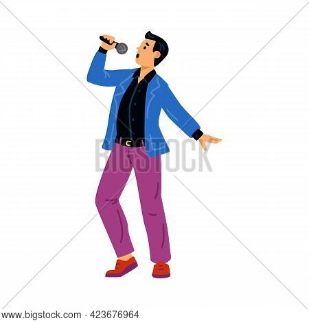Performance Singing Man With Microphone At Karaoke Or Popular Music Show.