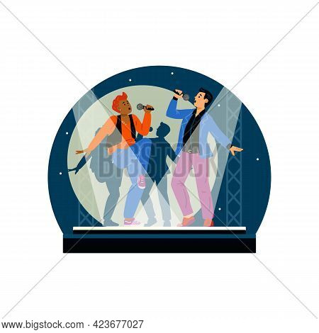 Decorative Banner With People Singing Karaoke Flat Vector Illustration Isolated.