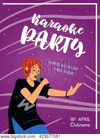 Karaoke Party Poster Or Banner With Woman Singing, Flat Vector Illustration.