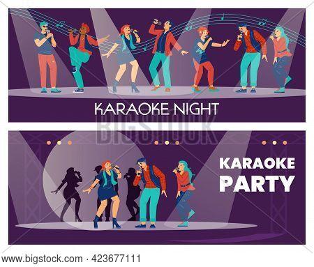 Karaoke Club Posters Set With Cartoon Characters, Flat Vector Illustration.