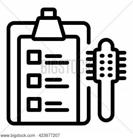 Curly Hair Clipboard Icon. Outline Curly Hair Clipboard Vector Icon For Web Design Isolated On White