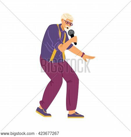 Senior Man With Microphone Dance And Sing Of Old Songs At Karaoke Or Music Party