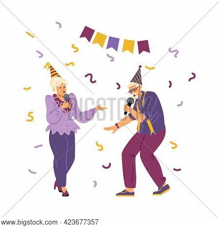 Elderly People Sing At Birthday Party, Flat Vector Illustration Isolated.