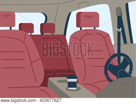 Empty Car Inside View From Windshield On Seats, Flat Vector Illustration.