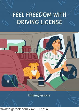 Car Driving Licence Banner Or Poster Template, Flat Vector Illustration.