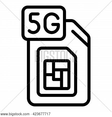 5g Network Sim Icon. Outline 5g Network Sim Vector Icon For Web Design Isolated On White Background