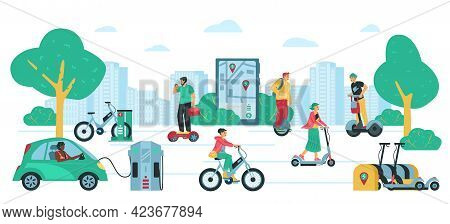 Road With People Riding Various Electric Transport, Flat Vector Illustration.