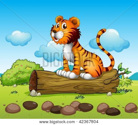 Illustration of a tiger relaxing above a trunk