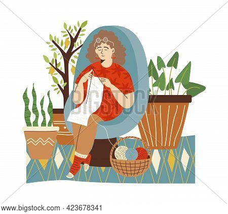 Woman Knitting In Home Garden With Pot Houseplants, Flat Vector Illustration.