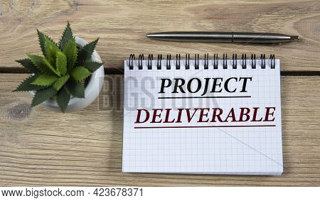 Project Deliverable - Words Are Written In A Notebook With A Pen, On A Wooden Background With A Cact