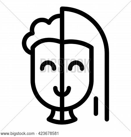 Gender Identity Half Icon. Outline Gender Identity Half Vector Icon For Web Design Isolated On White