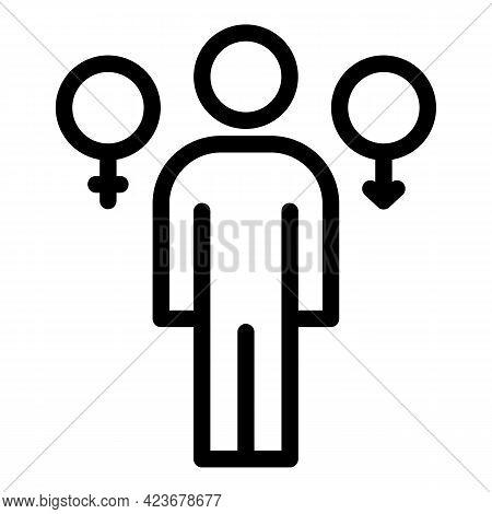 Gender Identity Relation Icon. Outline Gender Identity Relation Vector Icon For Web Design Isolated