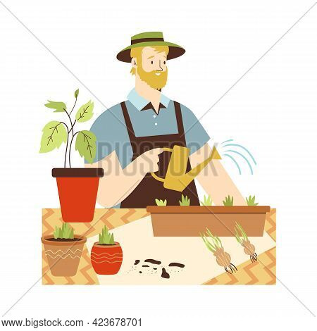 Man Planting Edible Plants And Herbs, Flat Vector Illustration Isolated.