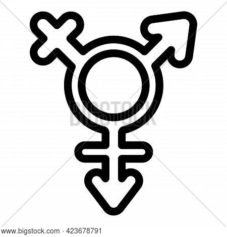 Gender Identity Lesbian Icon. Outline Gender Identity Lesbian Vector Icon For Web Design Isolated On