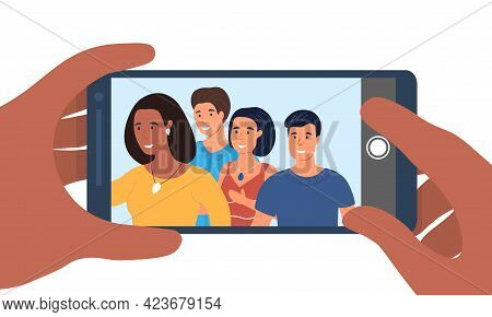 Hands Holding Smartphone With Young Smiling Men And Women Taking Selfie. Concept Of Friends Taking S