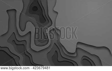 Black Cutout In Topographic Map Style. Black Paper Cut Background. Vector Illustration.