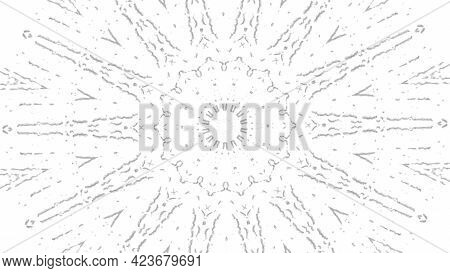 Abstract Black White Animated Kaleidoscope Pattern With A Stop Motion Effect. Animation. Monochrome