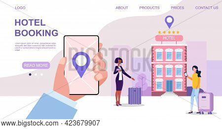 Female Character Is Booking A Hotel Room On Her Smartphone Online. Concept Of Mobile Application For