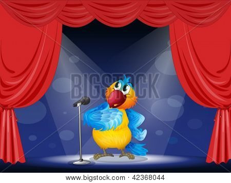 Illustration of a parrot in the limelight
