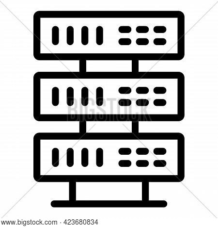 Server Search Engine Icon. Outline Server Search Engine Vector Icon For Web Design Isolated On White