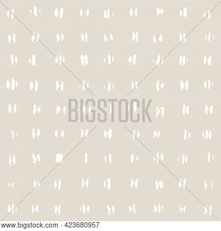 Contemporary Seamless Pattern With Abstract Dots Line In Nude Colors.