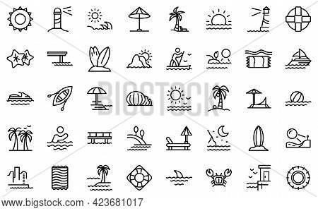 Seaside Icons Set. Outline Set Of Seaside Vector Icons For Web Design Isolated On White Background
