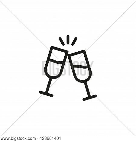 Champagne Icon. Two Glasses Of Champagne. A Toast. Simple Linear Vector Illustration On A White Back
