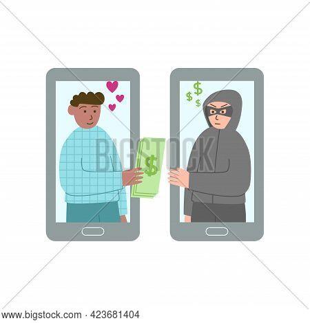 Online Dating Scam Concept, Flat Ilusration, Internet Scams