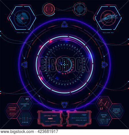 Set Of Futuristic User Interface Elements Hud For Dashboard Or Control Panel. Vector Illustration