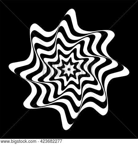 Op Art Design Element. Illusion Of Twisting Rotating Movement. Abstract Wavy Lines White Pattern On