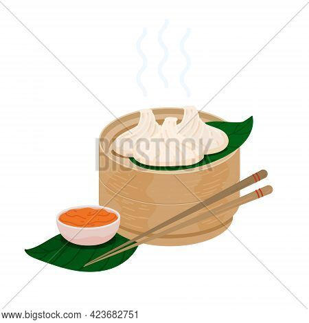 Steamed Momo Dumplings With Red Chile Sauce In A Wooden Basket. Vector Tibetan Momos Cuisine. Indian