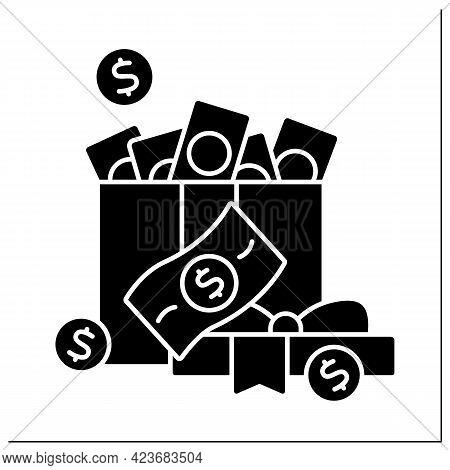 Money Glyph Icon. Cash For Present. Money In Present Box. Jackpot. Wealth Concept. Filled Flat Sign.