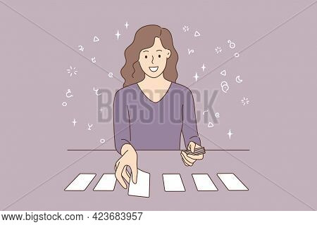 Playing Cards And Individual Prognosis Concept. Beautiful Smiling Young Woman Cartoon Character Sitt