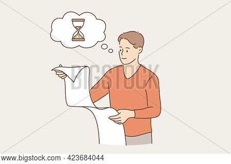 Successful Time Management In Business Concept. Young Smiling Businessman Cartoon Character Looking