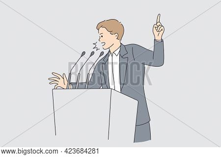 Politics And Election Campaign Concept. Young Determined Businessman Or Politician Man Cartoon Chara