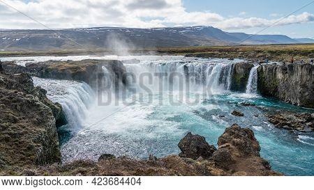 Godafoss, Waterfall Of The Gods In Myvatn Region In Iceland