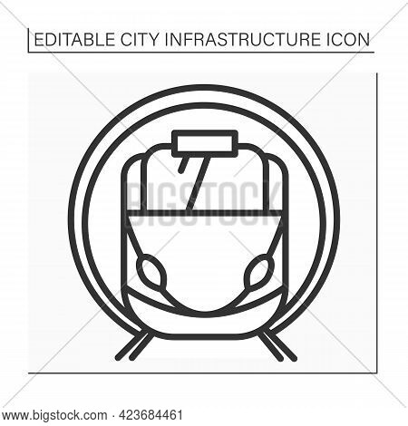 Subway Line Icon. Underground Transport. Drives Passengers To Metro Stations. Outline Drawing. Urban