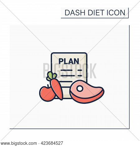 Eating Plan Color Icon.healthy Diet Plan For Breakfast, Dinner, Lunch.including Vegetables Like Carr